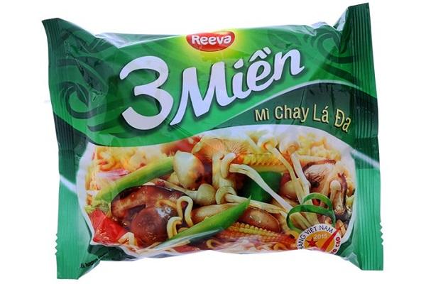 Mì Chay Lá Đa của thương hiệu mì 3 miền - loại mì dành riêng cho người ăn chay